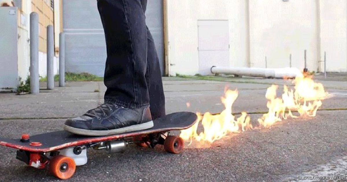 Chaud devant il cr e un skateboard qui crache des flammes - Invention du skateboard ...